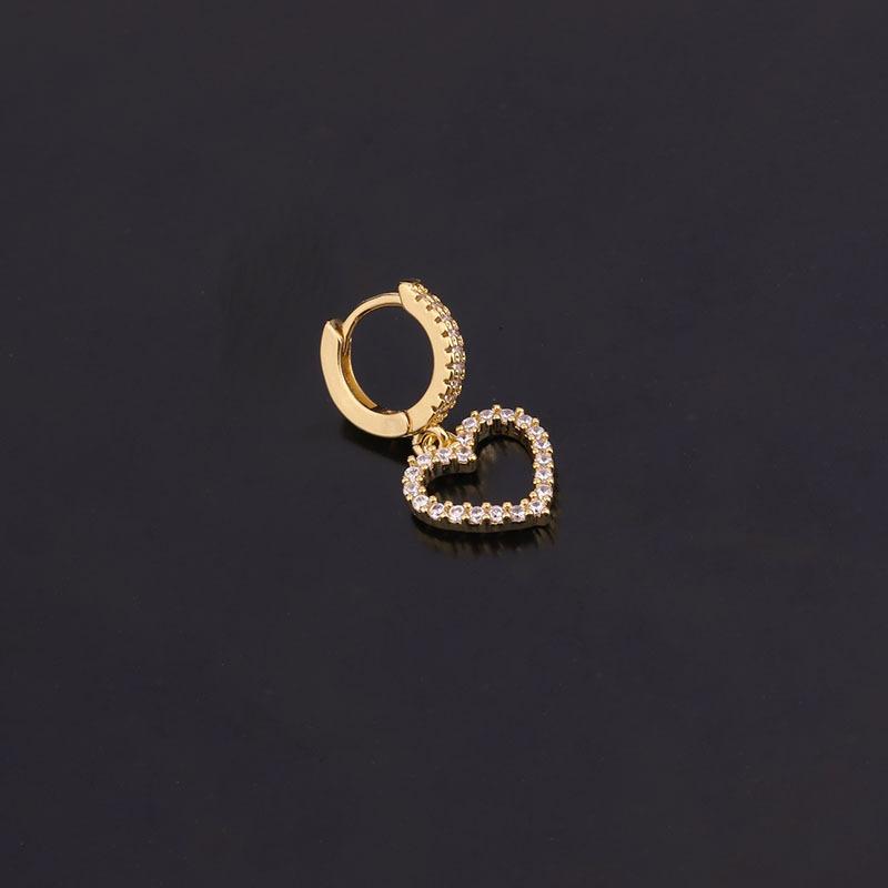 Fashion exaggerated zircon love fashion golden piercing round earrings for women NHEN263946