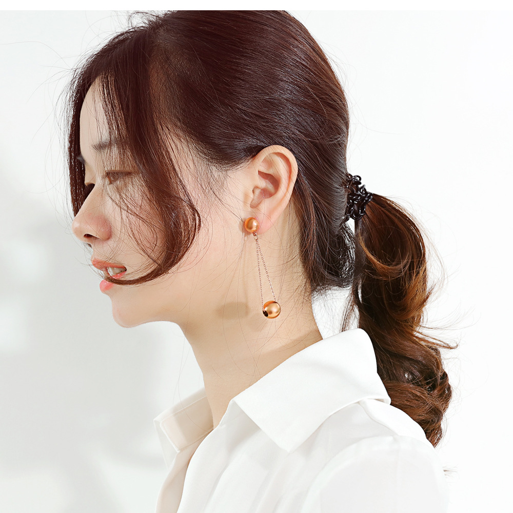 Korean new fashion wild pearl earrings sweet stainless steel simple tassel earrings wholesale NHOP210786