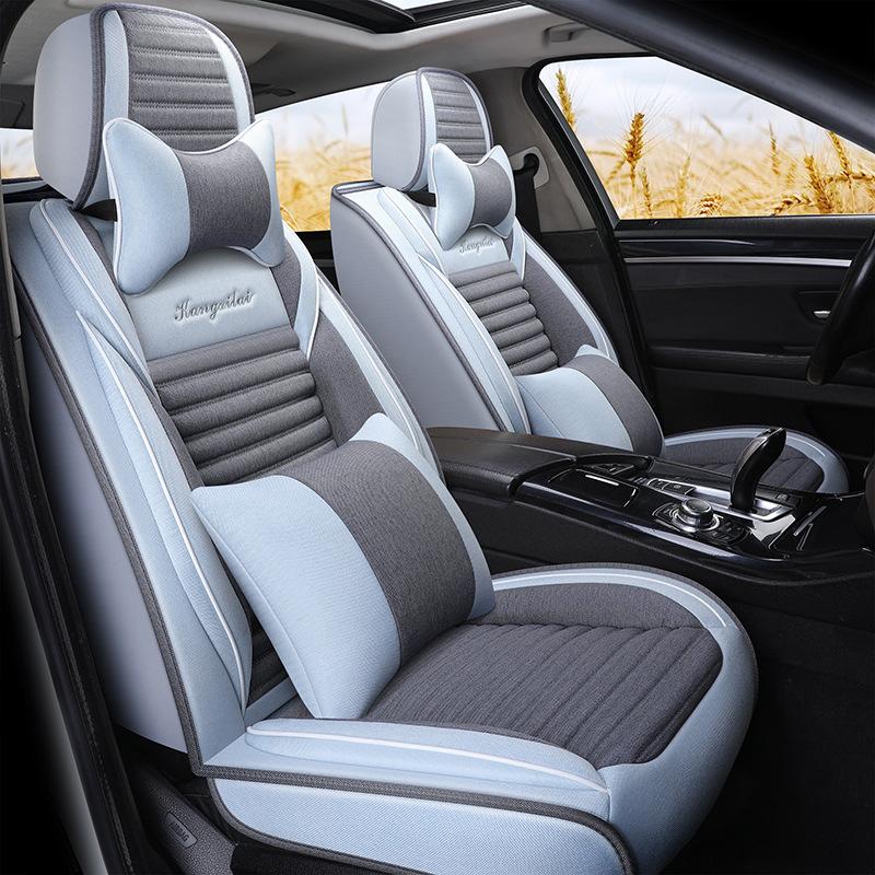 经典福克斯老款专用汽车亚麻布艺布料全包坐座套仿全真丝通用