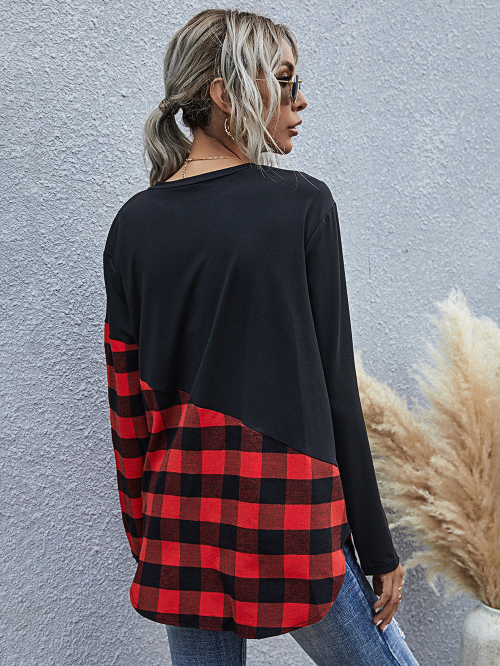 women's plaid casual round neck long-sleeved T-shirt  NSDF1591