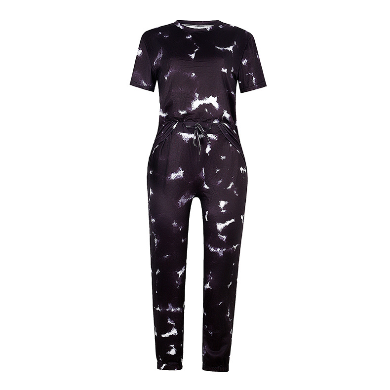 New hot style new women's short-sleeved gradient color printing tie-dye pajamas  NSKX6239