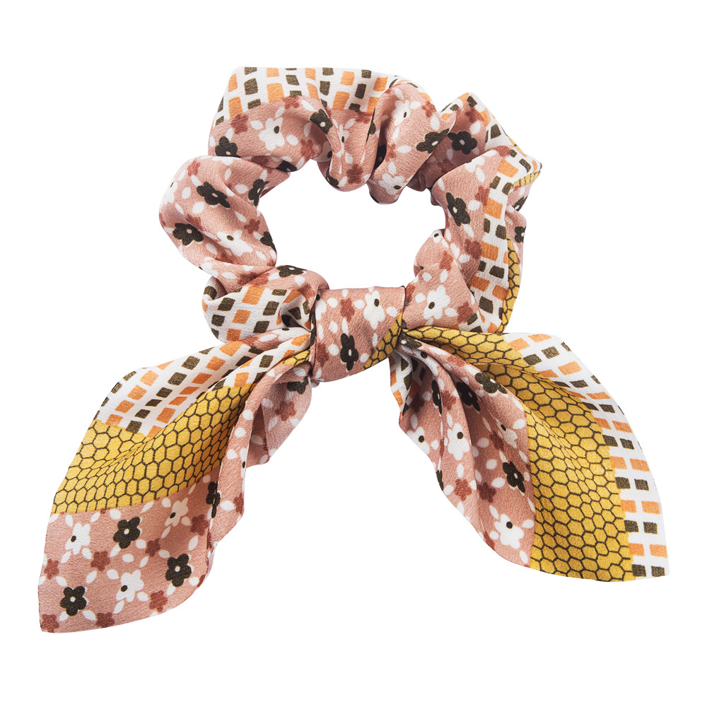 Korean simple printed fabric rabbit ear streamer headband fashion bow cheap hair accessories NHLN205801
