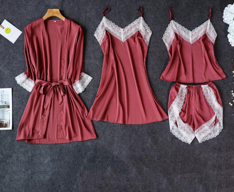 Sexy 4-Piece Set Of Imitation Silk Suspender Robe With Breast Pad Nightdress