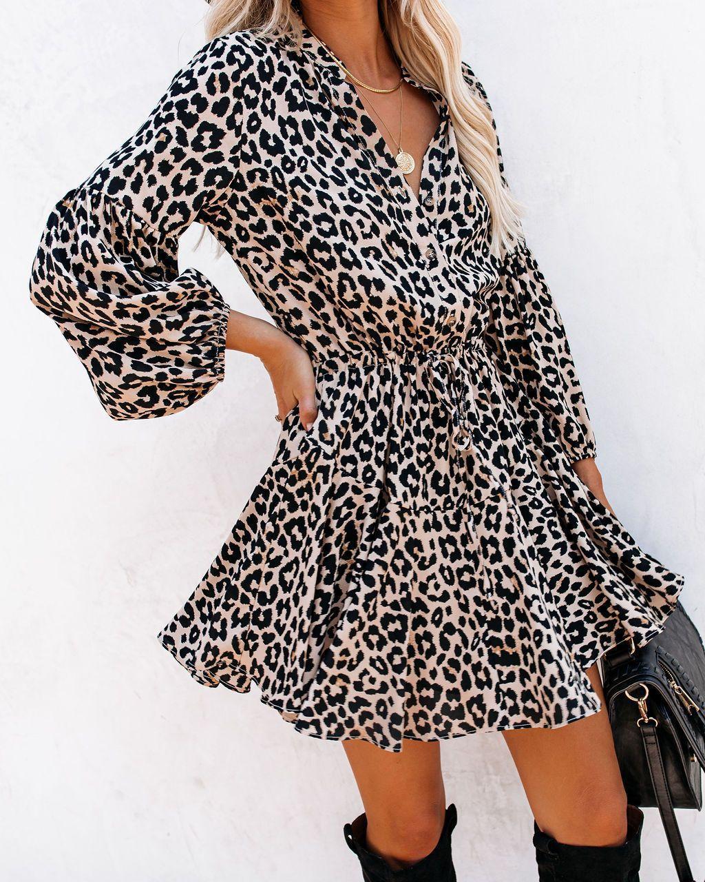 跨境欧美外贸速卖通独立站新款豹纹印花灯笼袖荷叶边长袖连衣裙