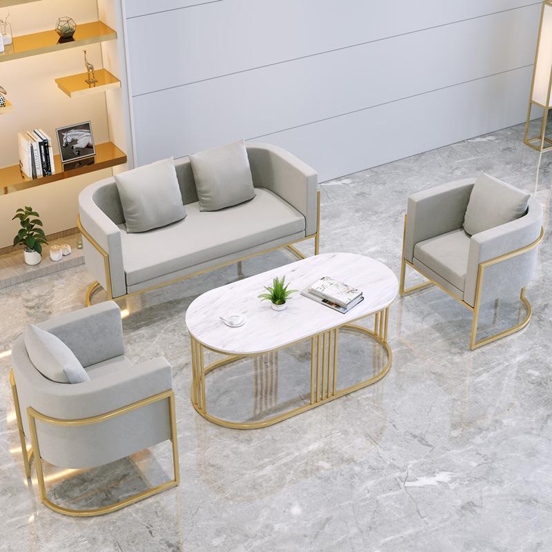 北欧布艺沙发铁艺桌椅现代简约服装店小沙发休闲会客办公茶几组合
