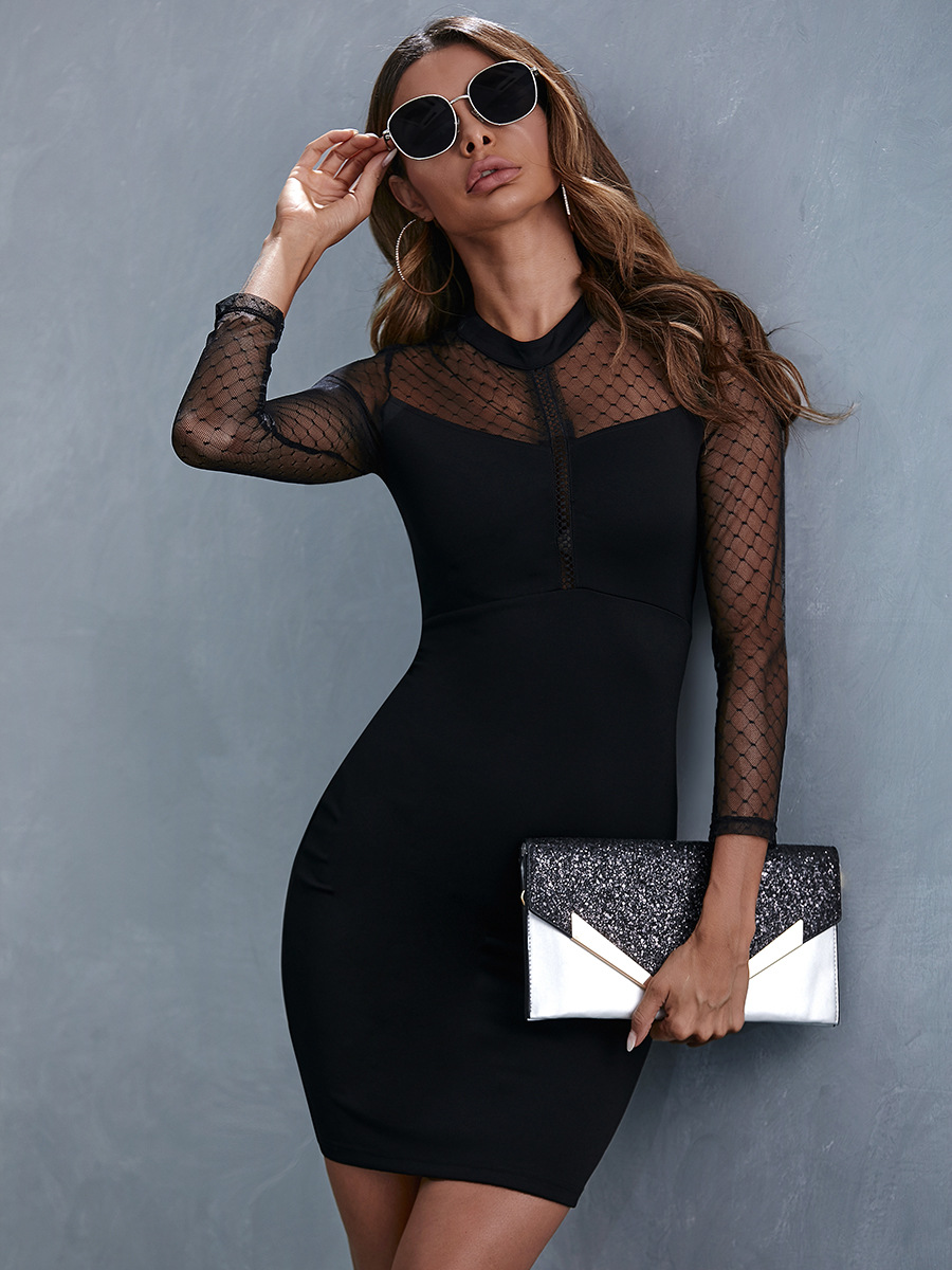 lace stitching mesh gauze sexy black dress NSAL1939