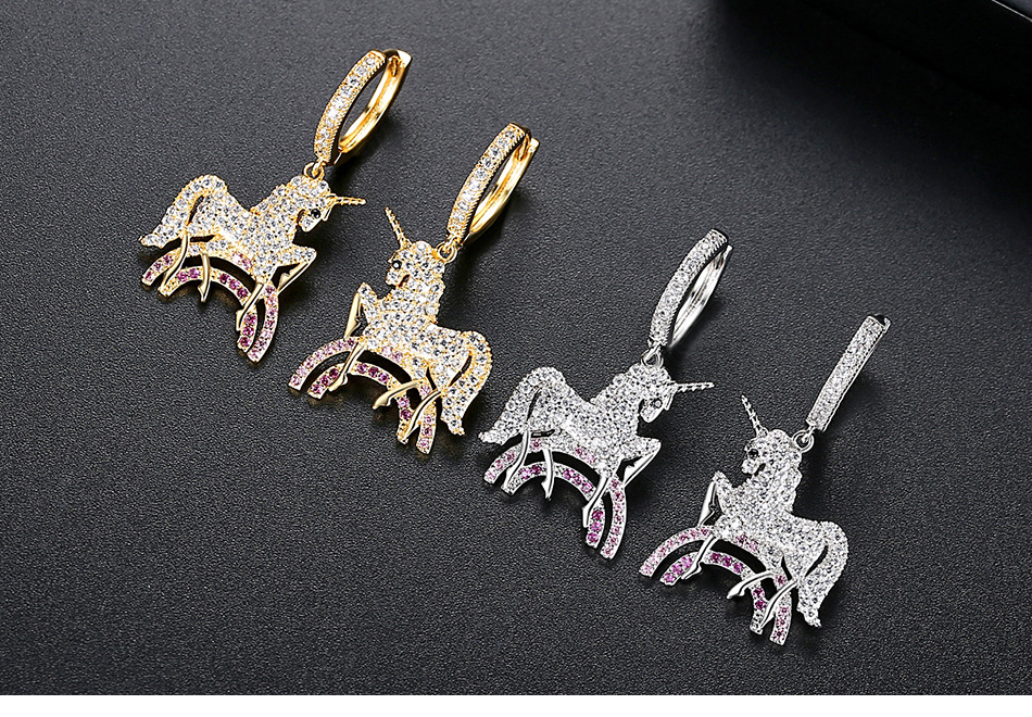 earrings wholesale fashion copper earrings with zircon plating NHTM201350
