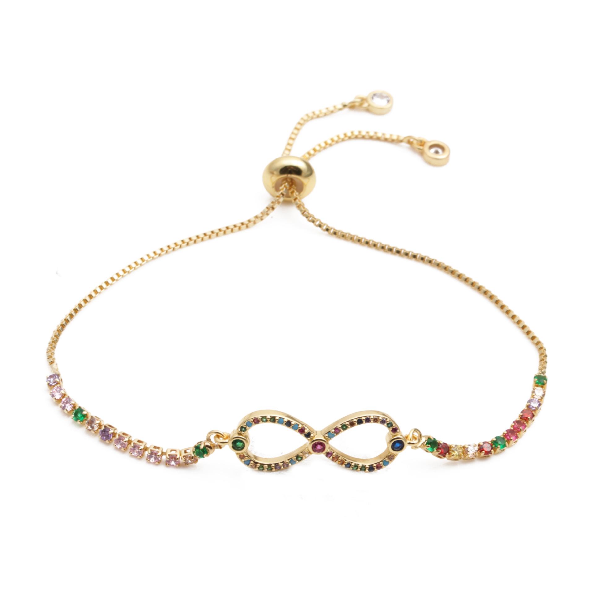 fashion jewelry copper micro inlay zirconium double 8word adjustable bracelet wholesale nihaojewelry NHYL232449