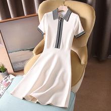 2020春夏新款原厂女装POLO撞色领学院风针织连衣裙一件代发