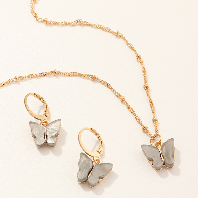 explosive accessories multicolor butterfly necklace earring set temperament small butterfly jewelry wholesale nihaojewelry NHNZ218915