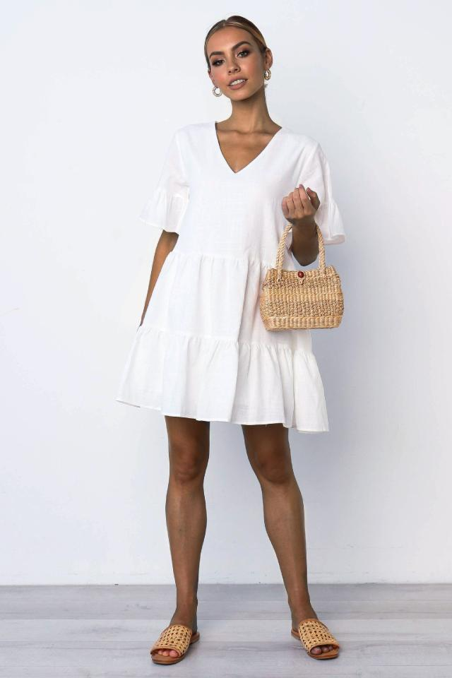 V-neck short-sleeved ladies fashion casual pleated dress NSYF2178