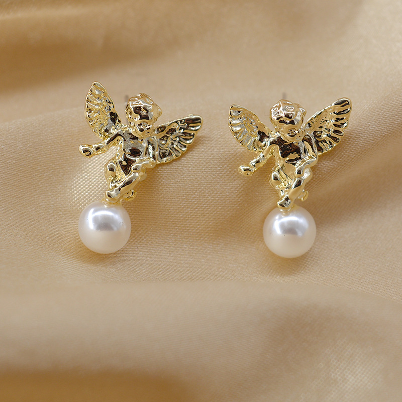 New fashion lucky pearl angel earrings wholesale NHNT210971