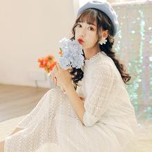 2020小清新圓領仙女森系網紅蕾絲短袖連衣裙