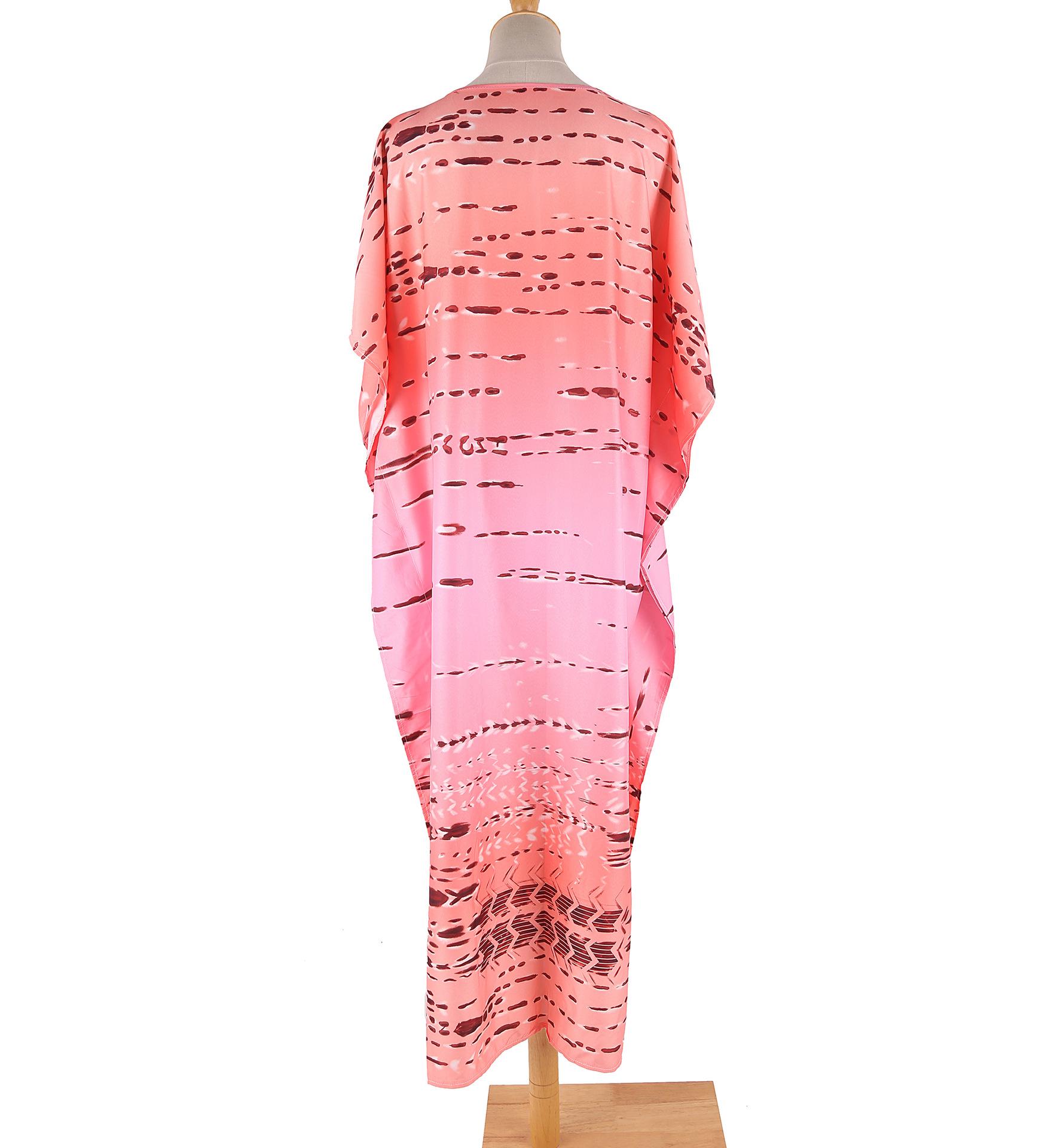 New imitation tie-dye pattern printing loose beach dress blouse wholesale nihaojewelry NHXW243954