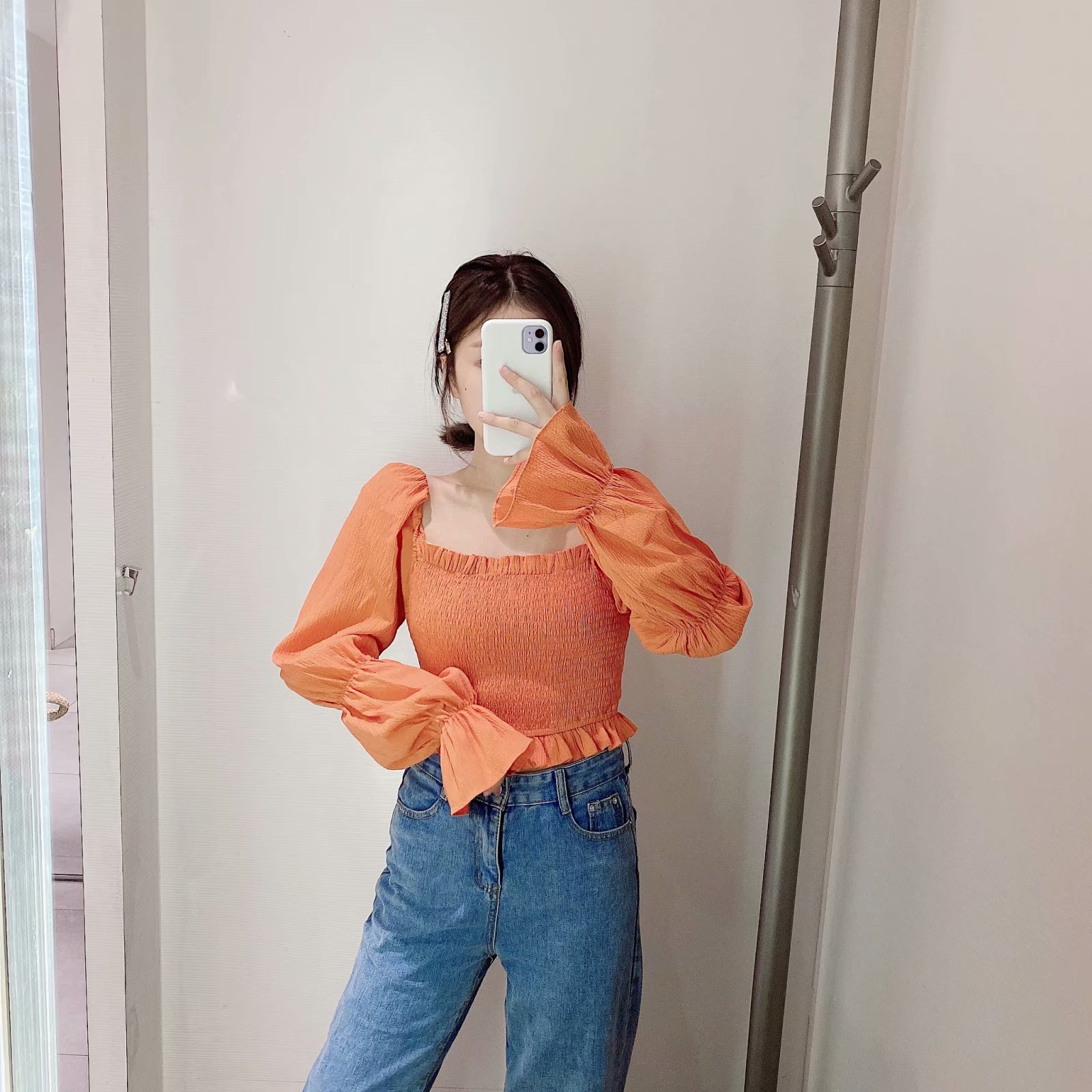 Spring new fashion square collar lamb leg sleeve blouse elastic on women's shirt NHAM209408