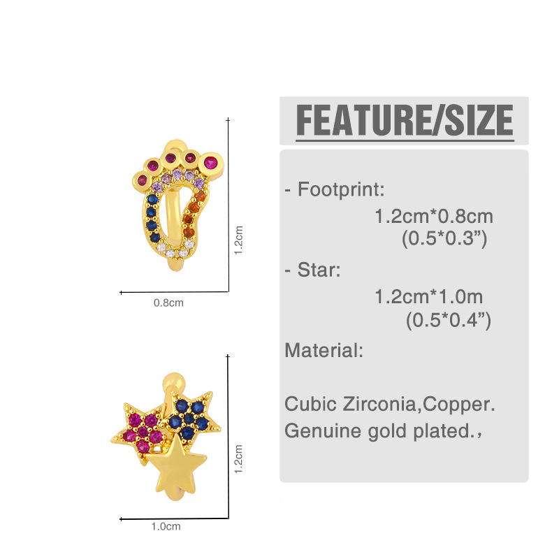 exaggerated sole ear clip jewelry C-shaped color diamond five-pointed star ear bone clip wholesale nihaojewelry NHAS236304