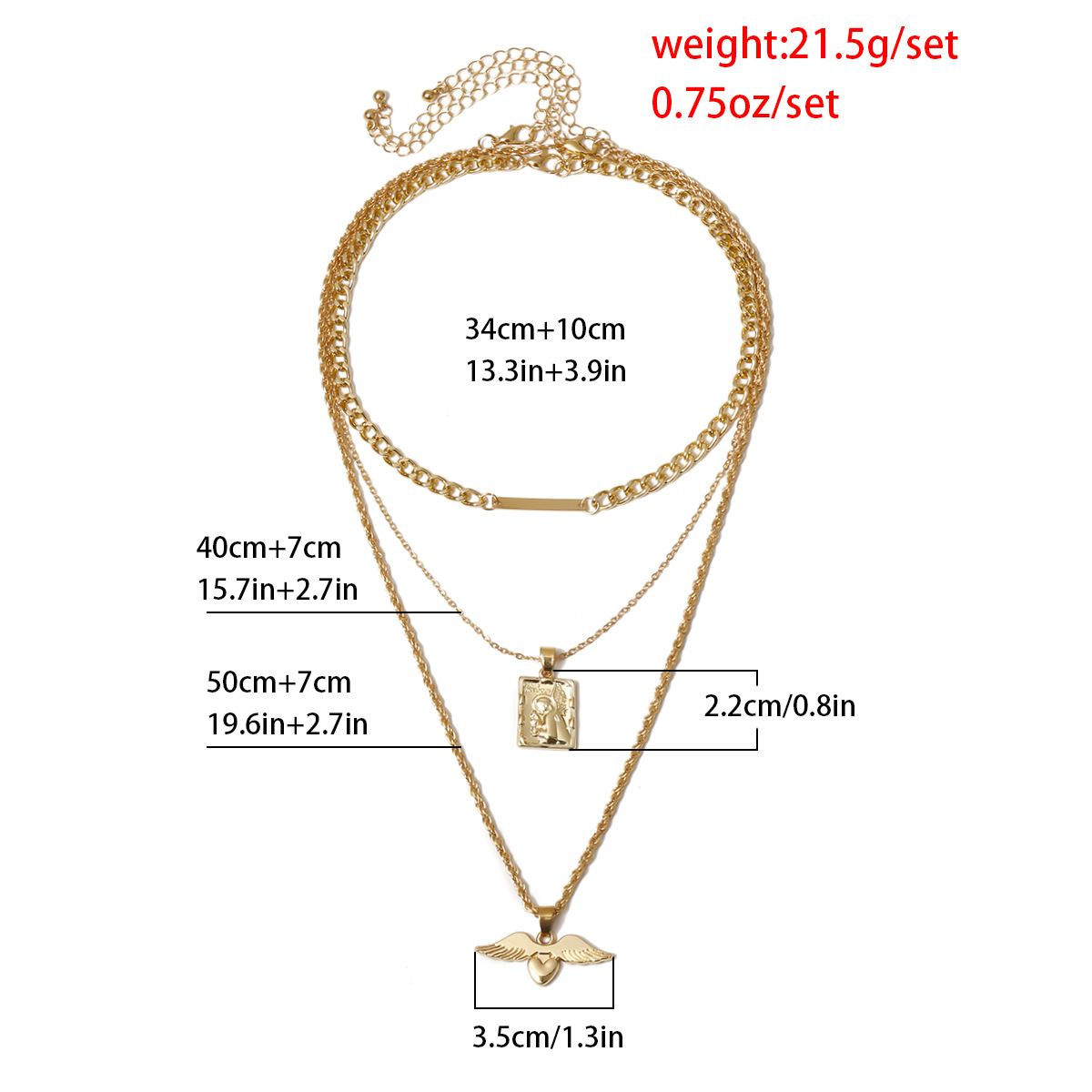 Simple multi-layer item decorated angel wings multi-layer suit ladies necklace NHXR203563