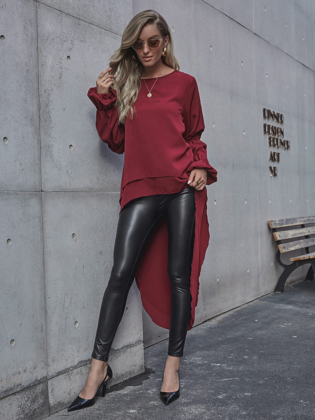 autumn and winter solid color front long back short dovetail long sleeve women dress  NSYD4915