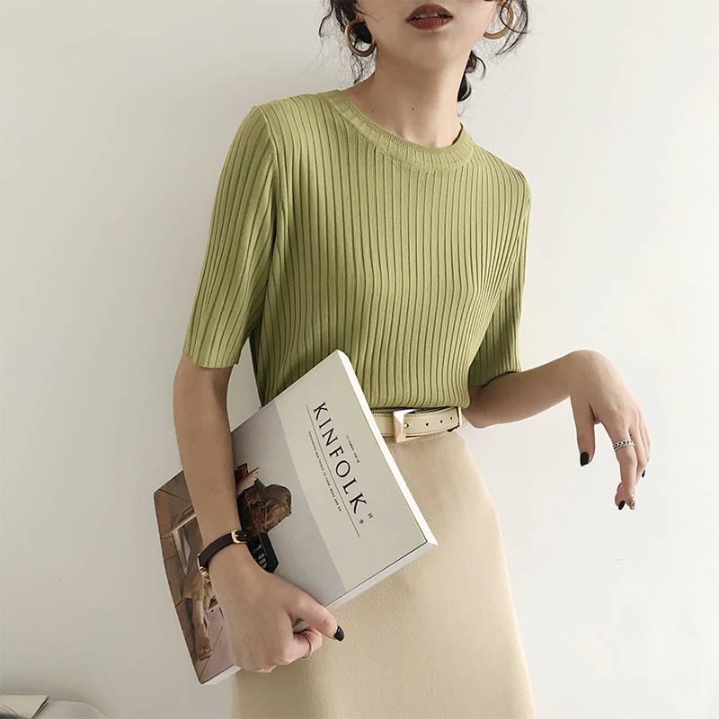 韩国夏装新款纯色坑条纹圆领短袖针织衫女百搭直筒套头上衣潮