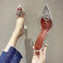 2020夏季新款网红女鞋尖头性感透明蝴蝶结水钻酒杯高跟仙女风凉鞋