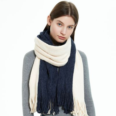 Acrylic Bib double-sided pure tassel warp knitted wool scarf