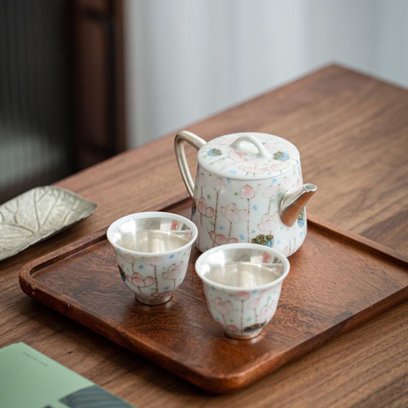 德化 鎏银 鎏银彩茶杯茶具礼品