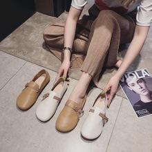 2020秋新款平底頭層牛皮復古小清新軟底軟面超級減齡奶奶鞋女