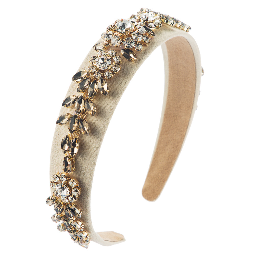Fashion hair accessories retro baroque court style super flash rhinestone glass diamond flower hair hoop women NHLN196519