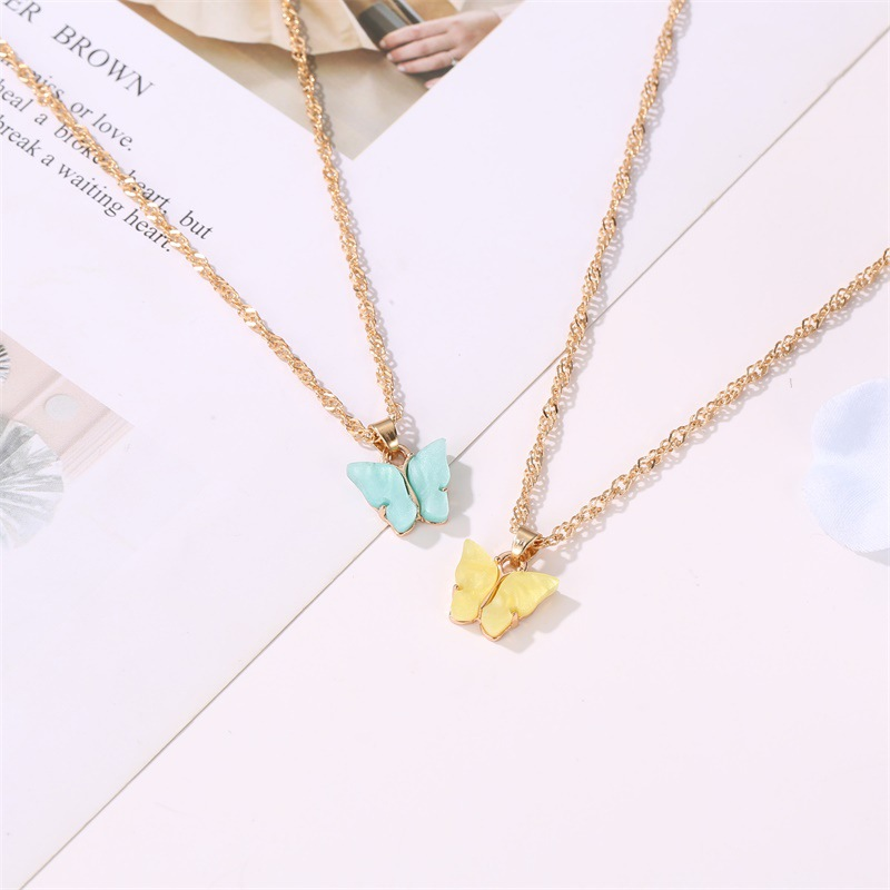 fashion butterfly necklace earrings set jewelry acrylic necklace earring set hot jewelry wholesale nihaojewelr NHDP229544