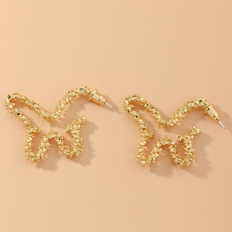 Fashion Purple Hollow Butterfly Painted Alloy Earrings