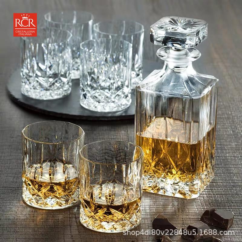 意大利进口RCR水晶威士忌酒樽威士忌酒杯醒酒器酒具套装7件套