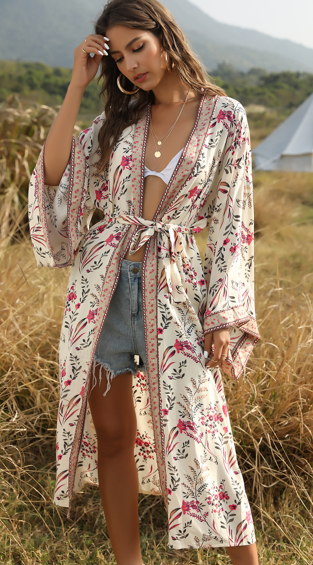 hot sale new bohemian beach holiday print sunscreen cardigan shawl for women NSDF1595