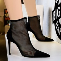 316-2 in Europe and the sexy nightclub show thin perspective mesh hollow out thin high heels for women's shoes with high heels pointed short boots