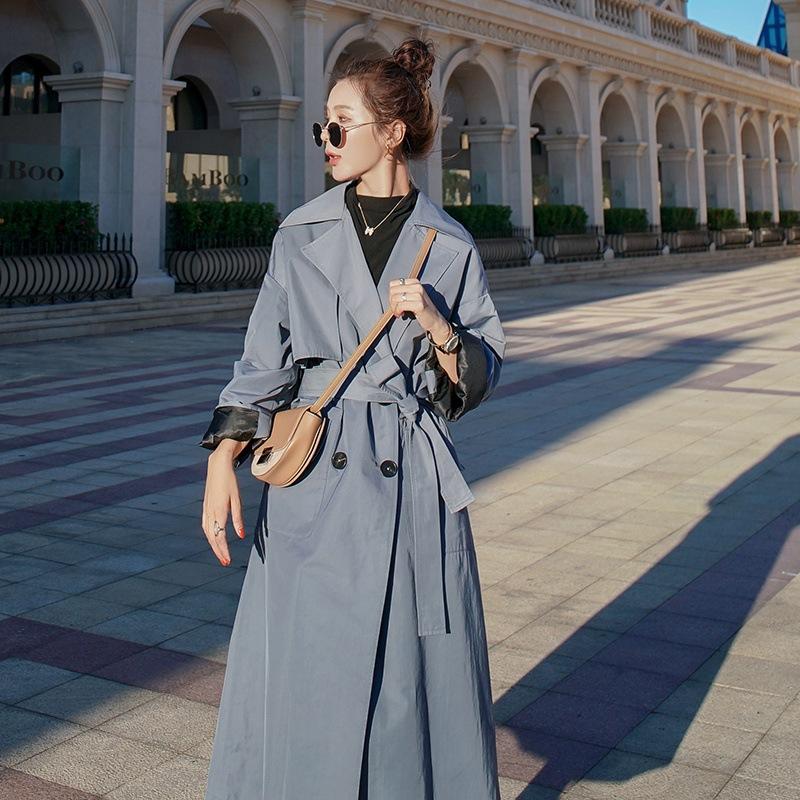 灰蓝色风衣女长款过膝2020年秋季新款韩版宽松气质流行大衣外套潮
