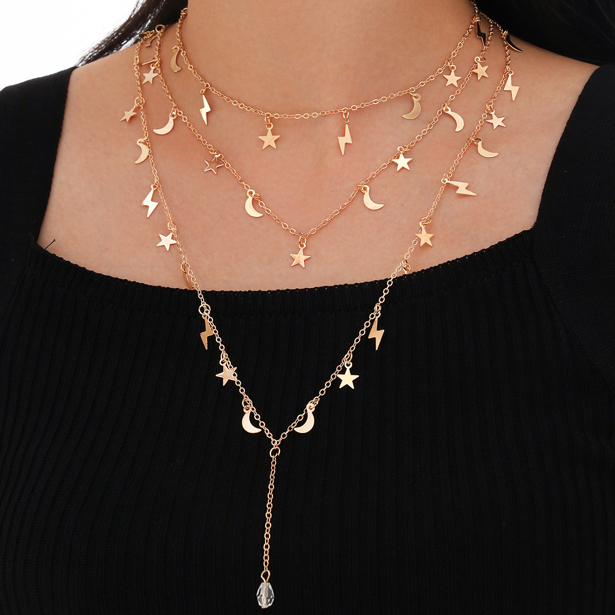 new multilayered fivepointed star moon Lightning pendant long tassel alloy necklace  NHPV249526