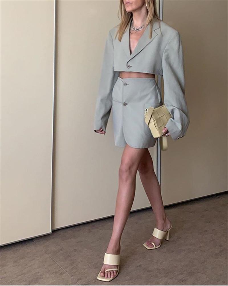 Crop Blazer and A-Line Skirt Set Grey