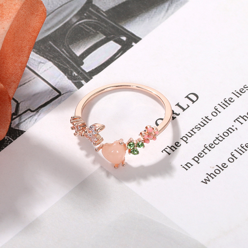 Korean fashion flower open ring new artificial gem diamond love ring NHJQ206542