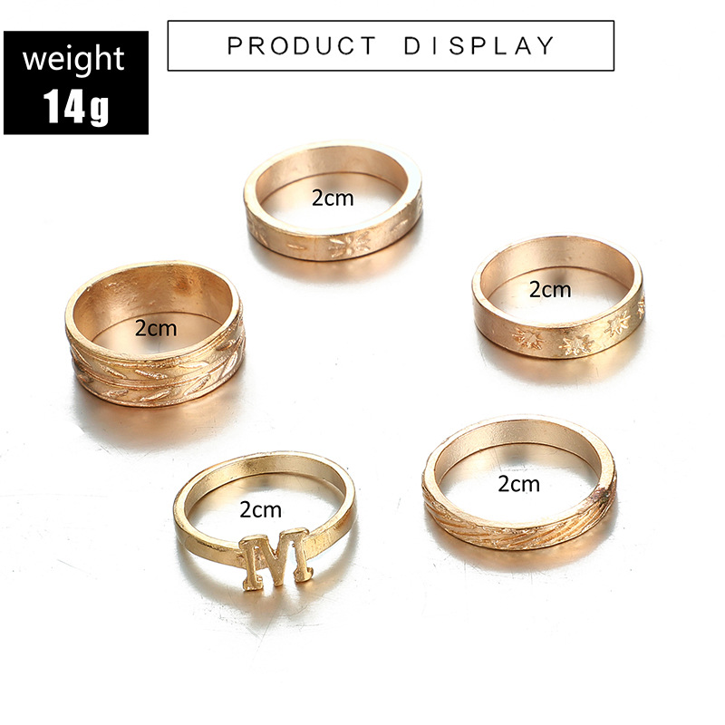 fashion jewelry simple creative personality temperament flower leaf letter M ring 5 piece set wholesale nihaojewelry  NHGY219091