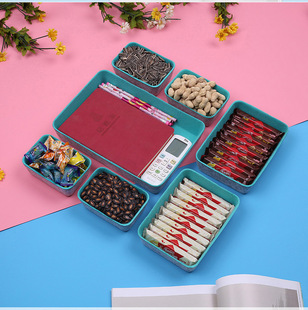 【Felt storage box】New felt single and double color seven-piece storage box, integrated dried fruit snacks, layered and organized