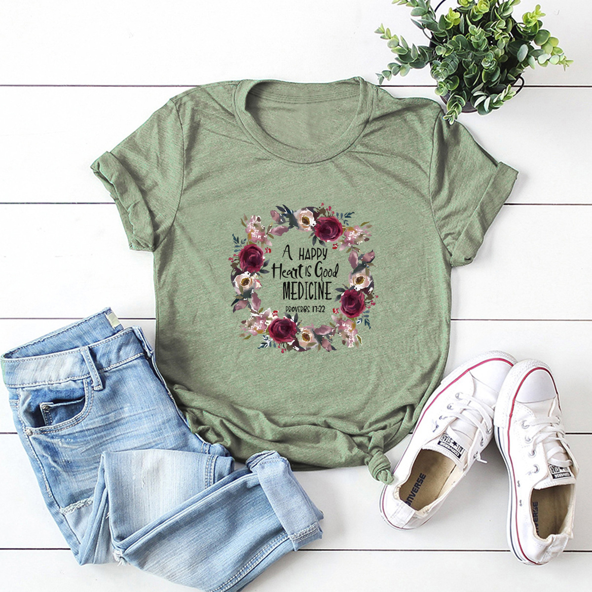 wreath letters comfortable short-sleeved T-shirt NSSN1459