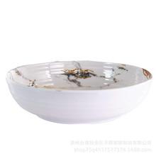 亚马逊热销 优质密胺A5大理石纹沙拉碗 美耐皿8寸螺纹小碗 可定制