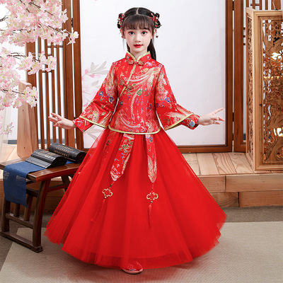 Children's Hanfu gilrs chinese qipao dresses ancient long sleeve cheongsam girl's Qipao Tang Ru skirt