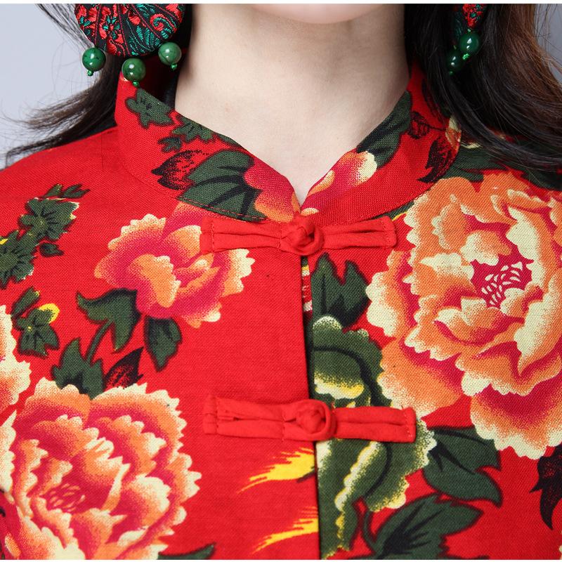 民族风女装复古盘扣立领短款唐装上衣春季修身开衫棉麻女装短衬衫