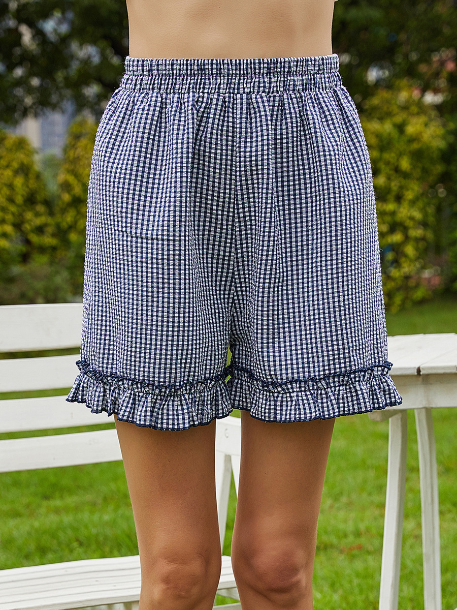 plaid lotus leaf lace holiday style women's shorts NSAL3263
