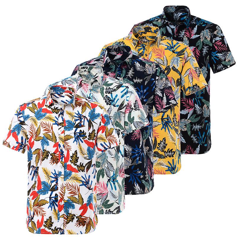 2021年纯棉夏威夷印花短袖衬衫男欧码沙滩外贸专供亚马逊男士衬衣