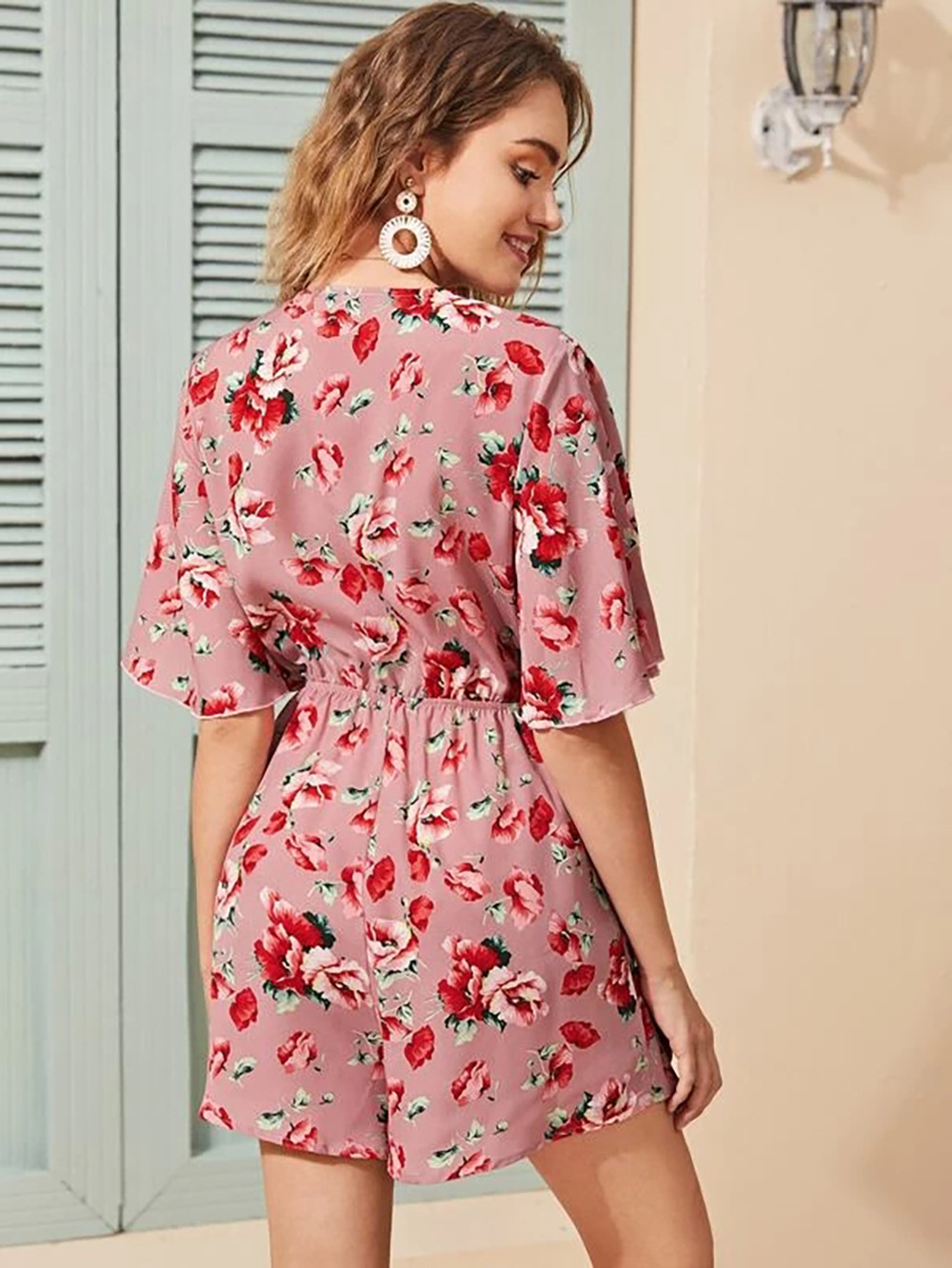 women casual deep v bow floral chiffon sleeve jumpsuit suit  NSDF1527