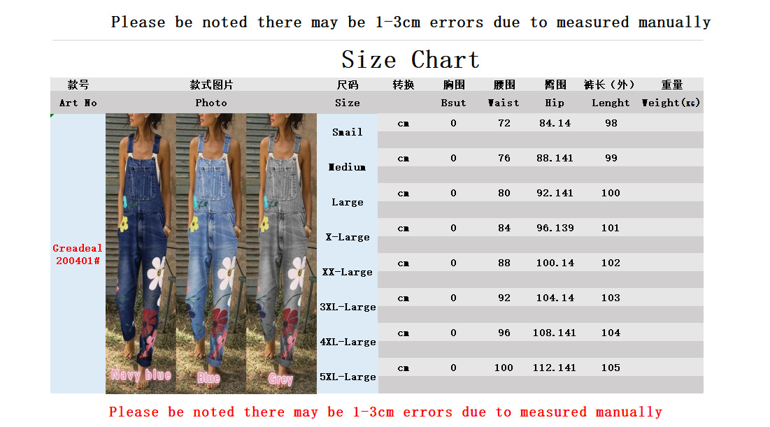 fashion summer simple  new printing large size denim overalls female trousers nihaojewelry wholesale NHYF217857