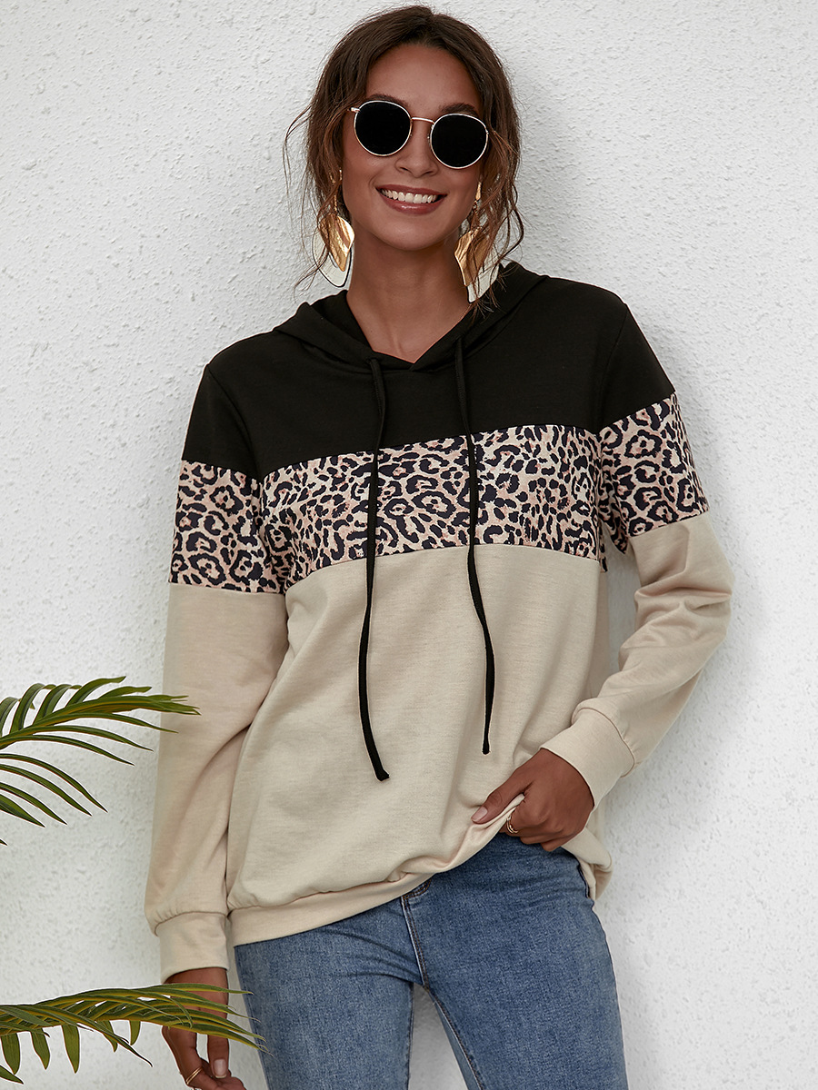 autumn and winter simple stitching leopard print hooded sweater slim long-sleeved top NSAL1896