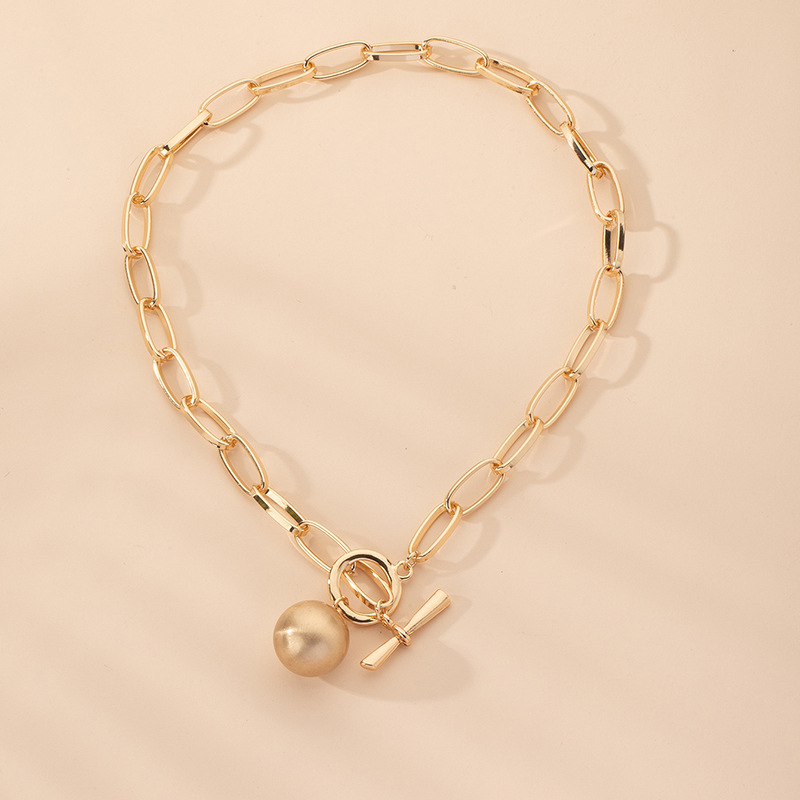new trend fashion old scratched ball pendant thick clavicle chain  NHAI242912