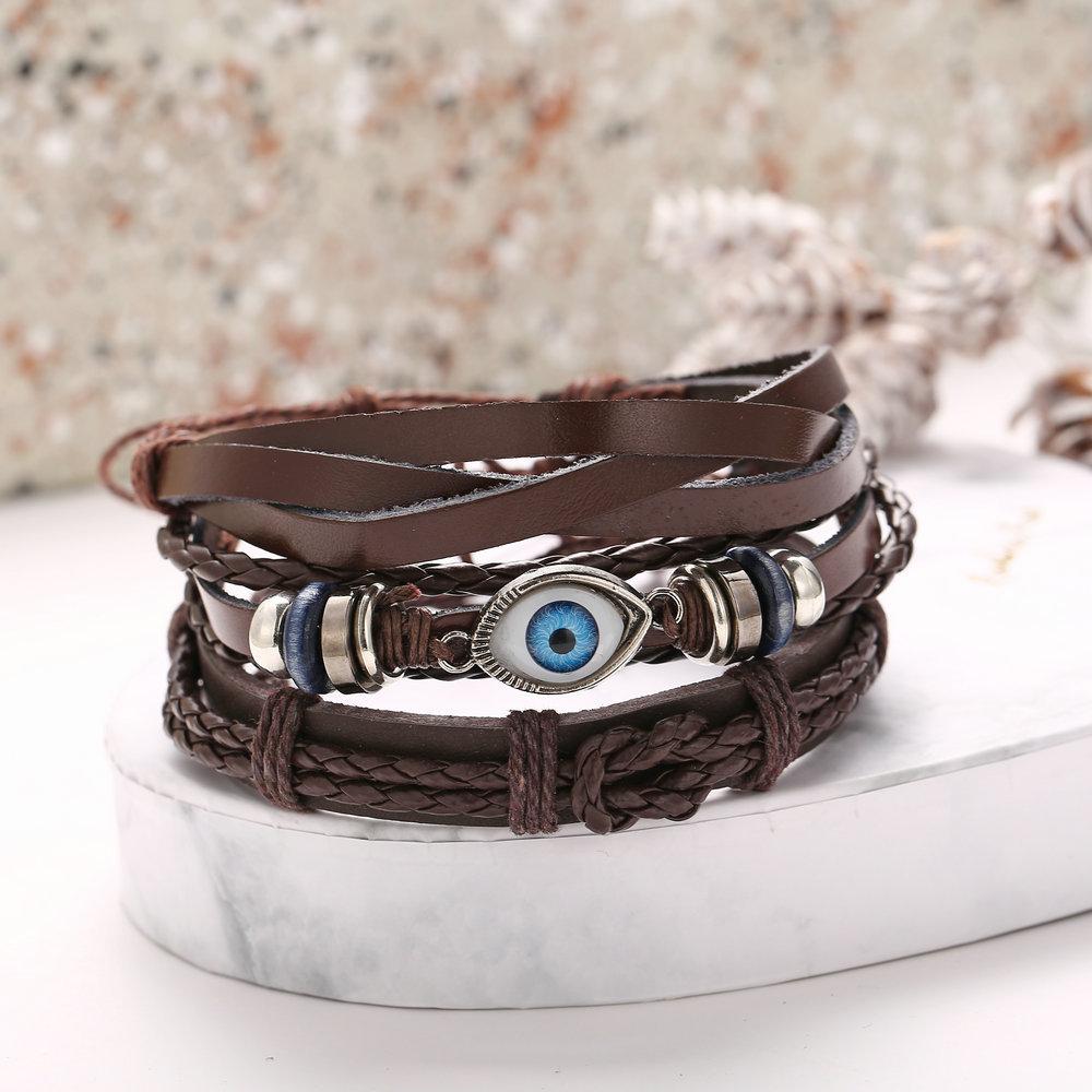 Eye braided leather bracelet set creative punk style black men's bracelet NHPJ201878